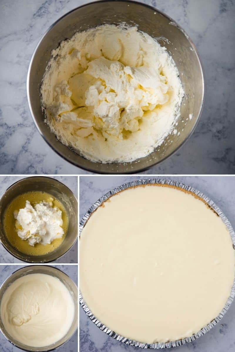 steps for making a no bake lemon cheesecake, including whipping heavy whipping cream in metal bowl 'til it has stiff peaks, mixing whipped cream into Jello cheesecake mixture 'til smooth and creamy, and pouring cheese cake batter into graham cracker crust in foil pie plate