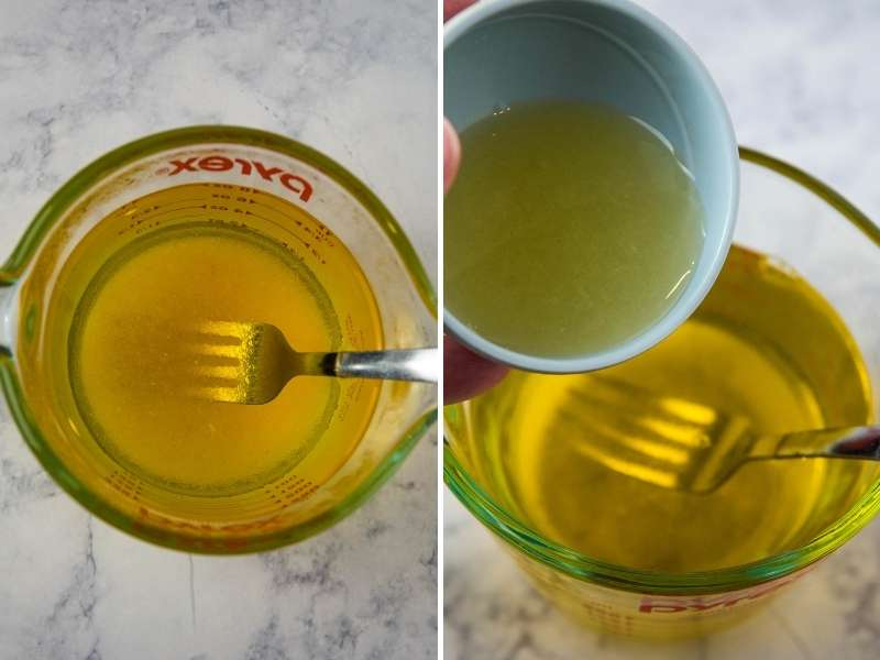 making lemon jello and adding lemon juice to it in Pyrex measuring cup