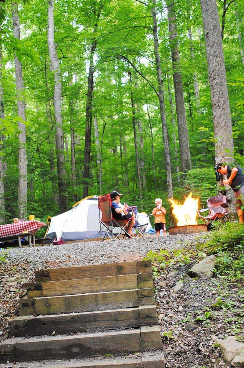 Camping at Cosby Campground in Smoky Mountains Tennessee