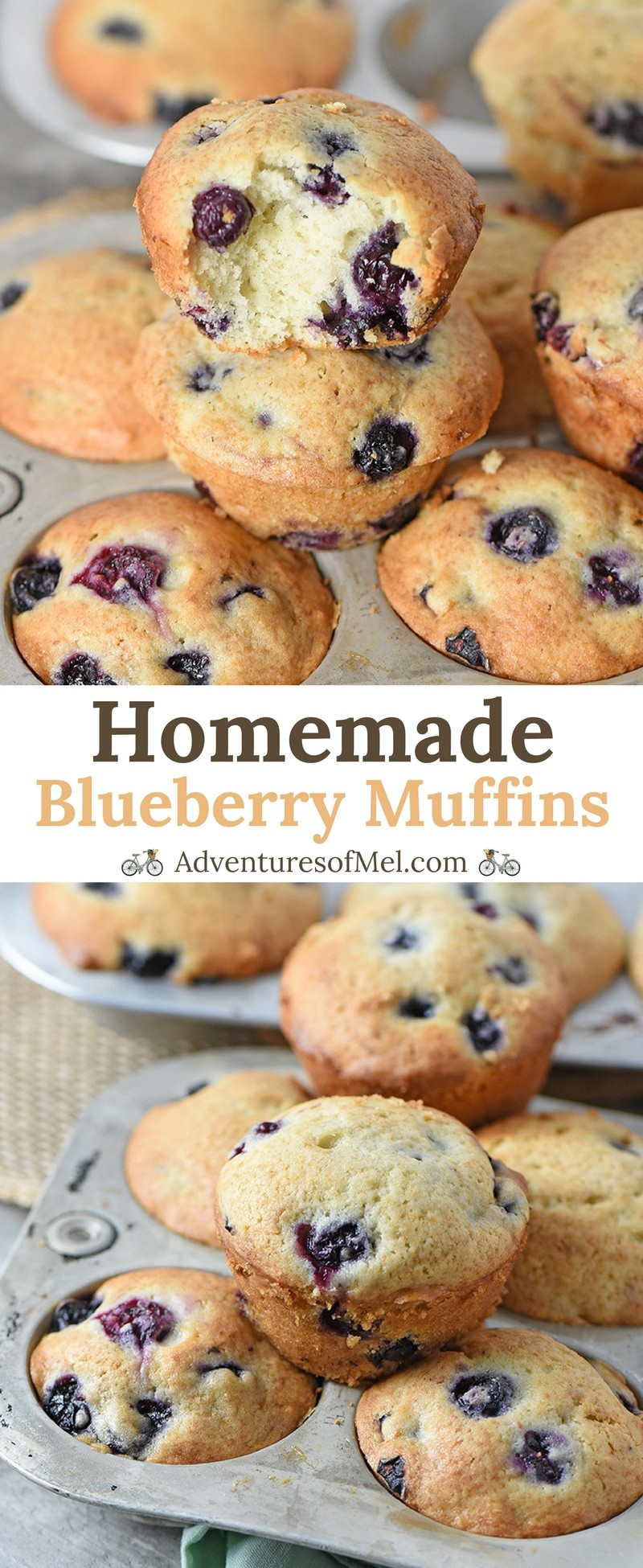 Homemade Blueberry Muffins from scratch are a breakfast sweet treat my boys really enjoy. Made with simple ingredients like butter, sour cream, and blueberries, this recipe is quick and easy to make. And the muffins are moist and delicious!