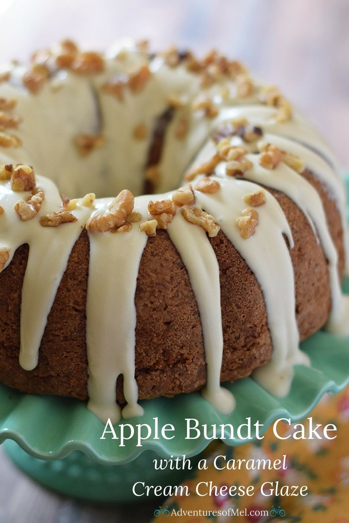 Apple Bundt Cake, a fall and holiday recipe made with apples, cinnamon, walnuts, and a caramel cream cheese glaze. Makes a scrumptious fall and holiday dessert!