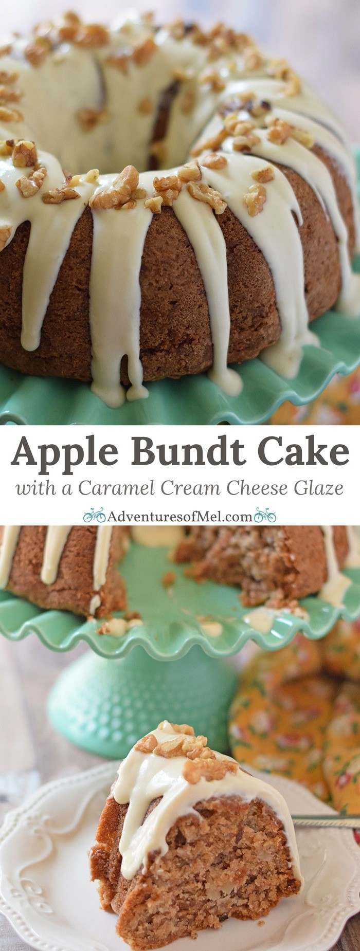 Apple Bundt Cake, a delicious recipe with apples, cinnamon, walnuts, and a caramel cream cheese glaze. Makes a scrumptious fall and holiday dessert!