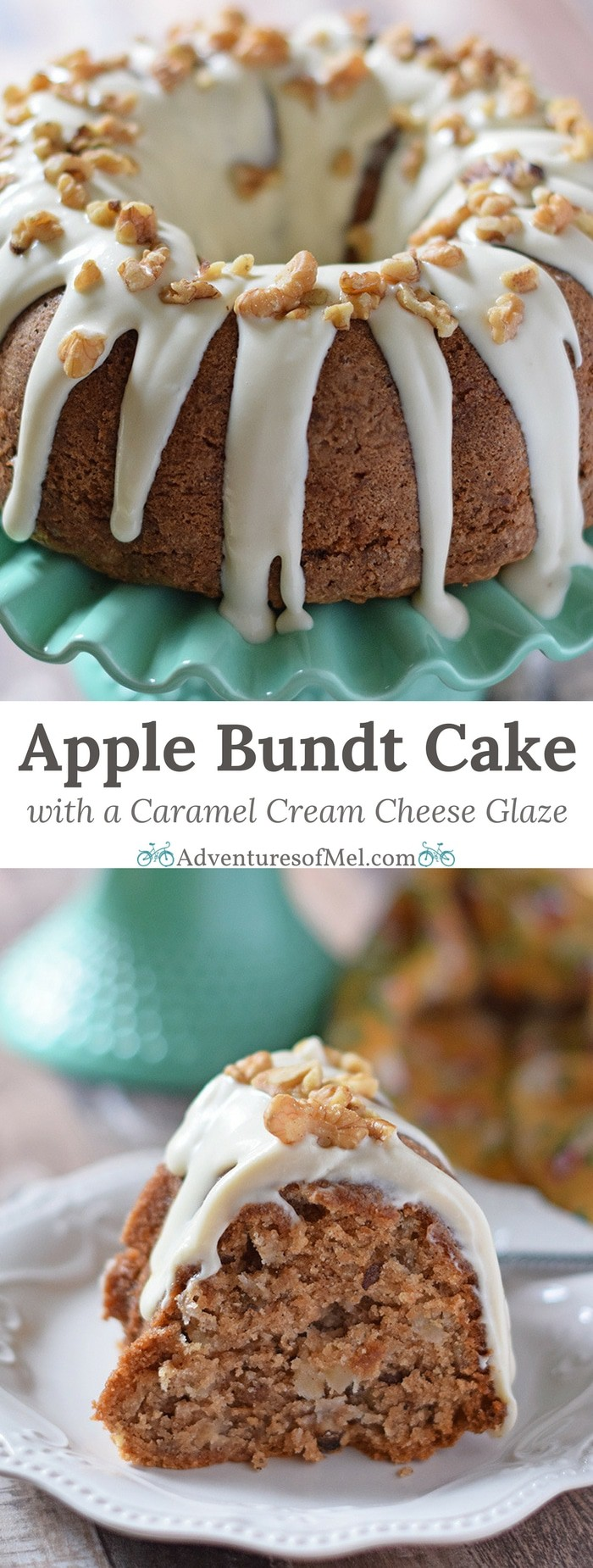Apple Bundt Cake, a recipe made with apples, cinnamon, walnuts, and a caramel cream cheese glaze. Makes a scrumptious fall and holiday dessert!