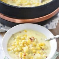 Creamy Potato Corn Chowder with bacon, an easy weeknight meal filled with cozy goodness. Hearty soup recipe the whole family will love.