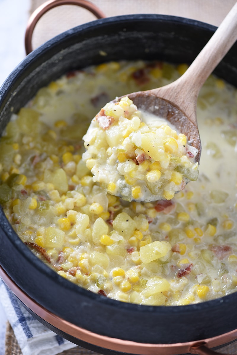 Fill a stew pot with the ingredients for a Creamy Potato Corn Chowder. Hearty soup that makes a tasty weeknight meal and a delicious lunch idea.
