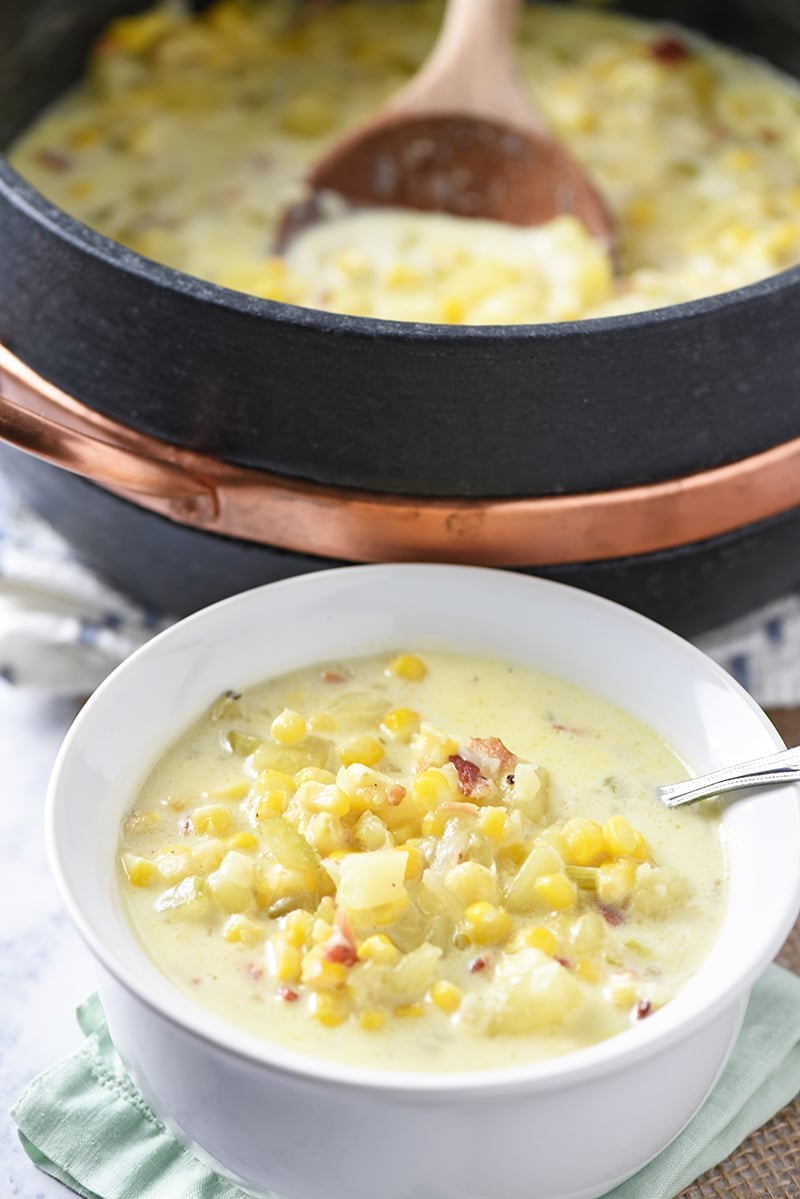 Easy, delicious dinner idea - Creamy Potato Corn Chowder with bacon! One of my family's favorite hearty soup recipes.