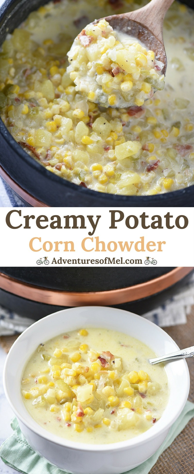 Creamy Potato Corn Chowder with bacon and cheddar is so easy to make. Hearty soup that makes a cozy weeknight meal the whole family will love!