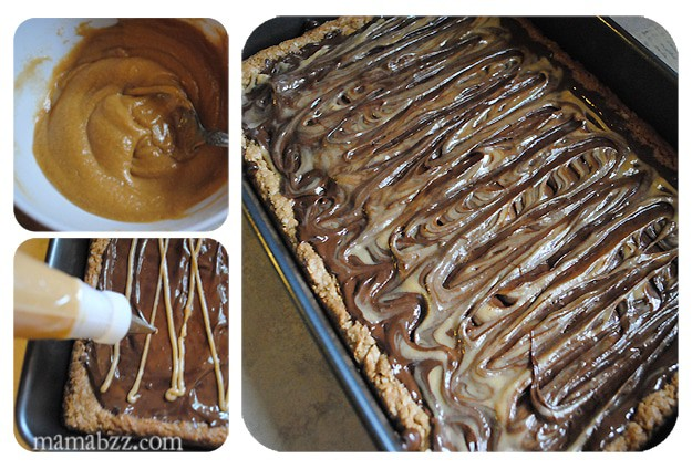 Spread peanut butter topping onto chocolate peanut butter fingers