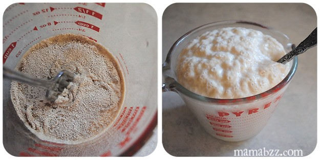 Let yeast mixture rise for homemade bread rolls