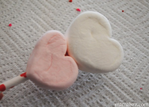 Add double heart marshmallows to paper straw stick