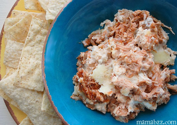 Barbecue Chicken Wing Cream Cheese Dip with Tortilla Chips {MamaBuzz}