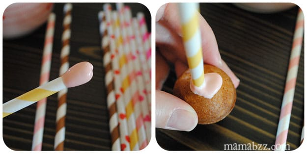 Coat cake pop stick with candy coating and insert into cake pop