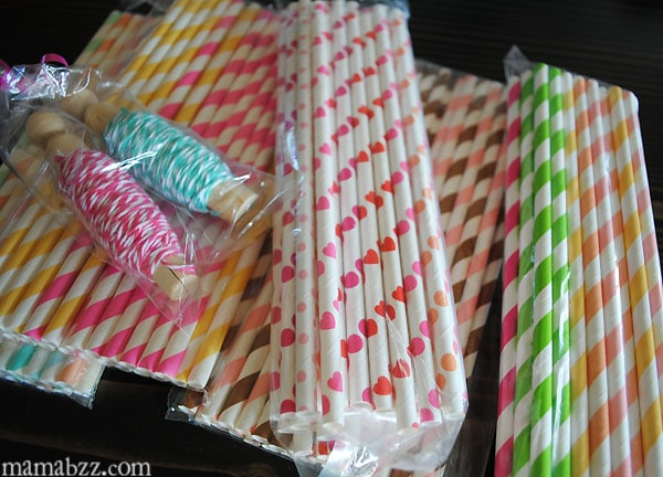 Paper straws and string from Dime Store Buddy on Etsy