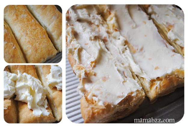 Spread sweet cream cheese layer on puff pastry sheets