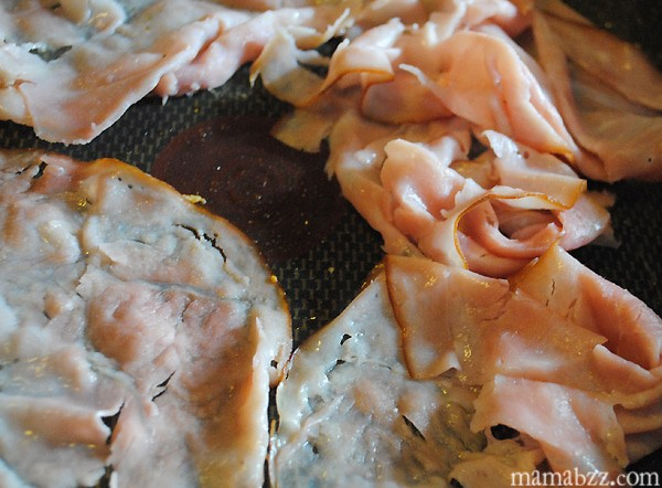 Warm ham in skillet until crisp around edges