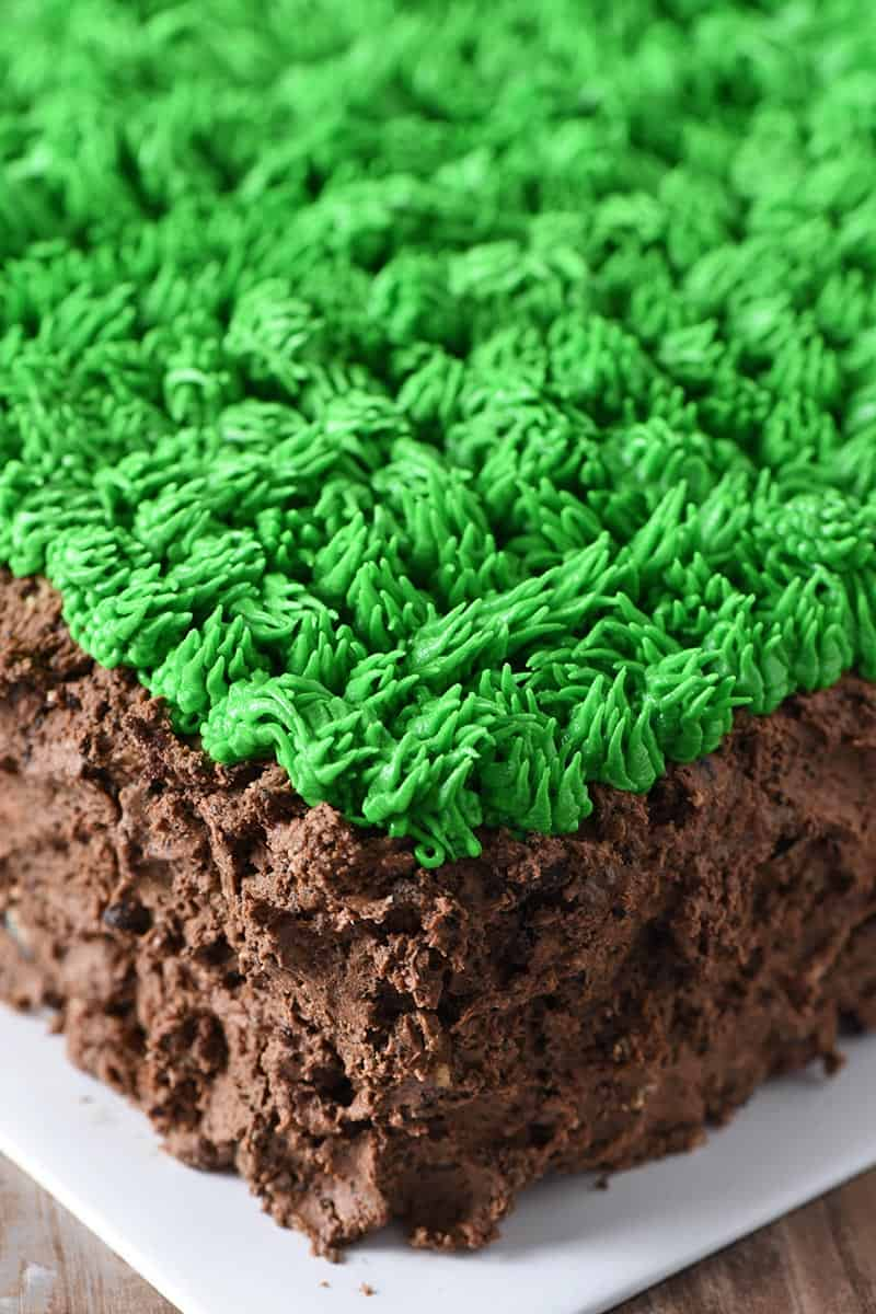 buttercream grass on minecraft grass block cake, made with Wilton cake tip 233