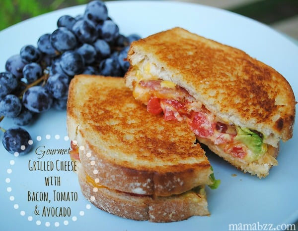 Gourmet grilled cheese with bacon tomato and avocado