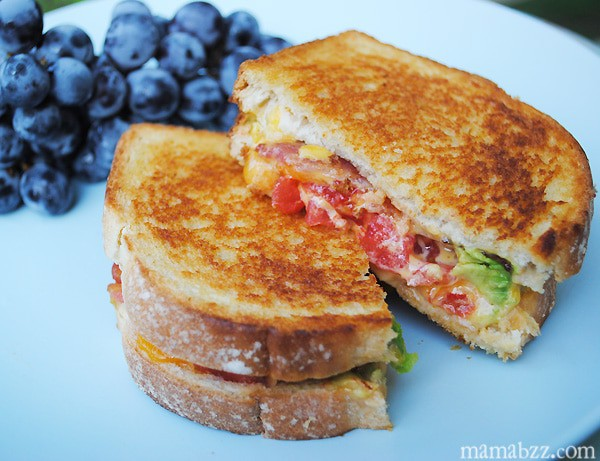 Grilled bacon cheese tomato and avocado sandwich