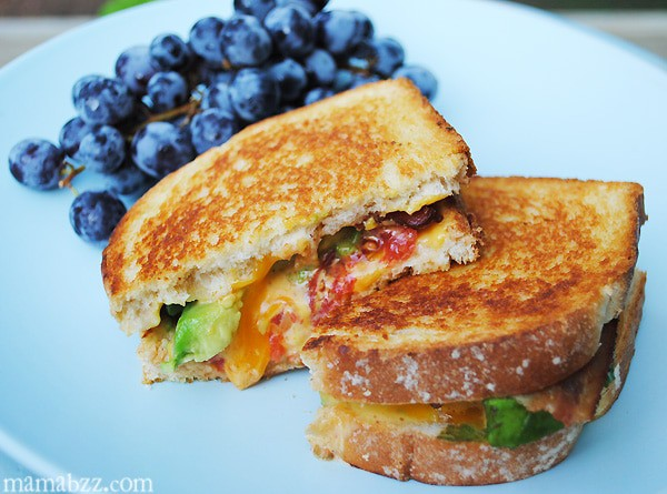 Grilled cheese with avocado, tomato, and bacon