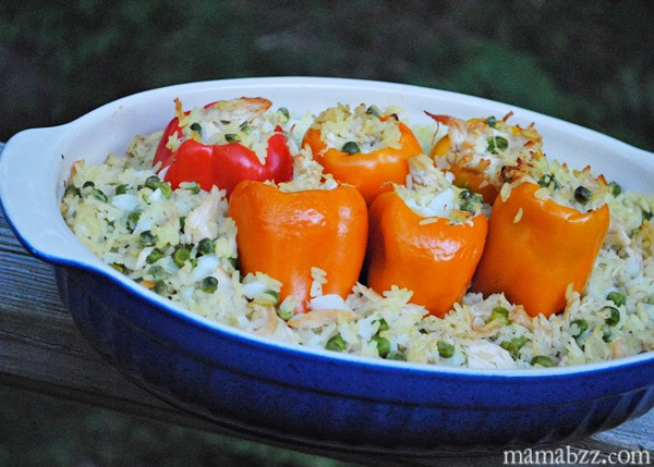 Chicken and Rice stuffed into peppers