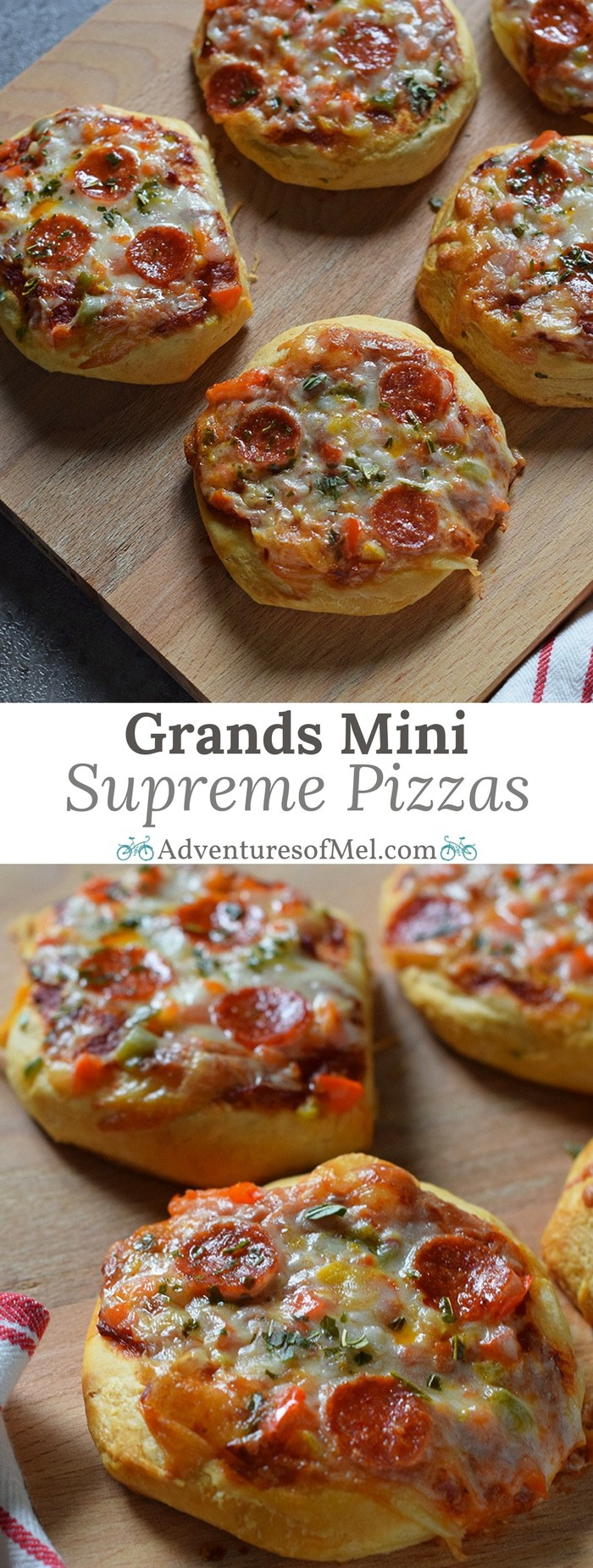 Grands Mini Supreme Pizzas are a quick and easy dinner recipe with Grands Biscuits, pizza sauce, veggies, cheese, pepperoni, and basil.