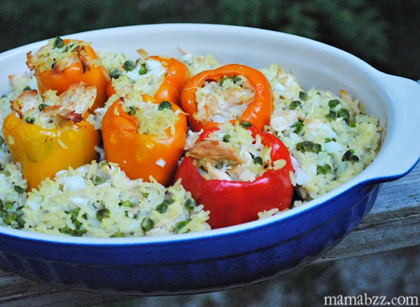 Peppers stuffed with chicken and rice