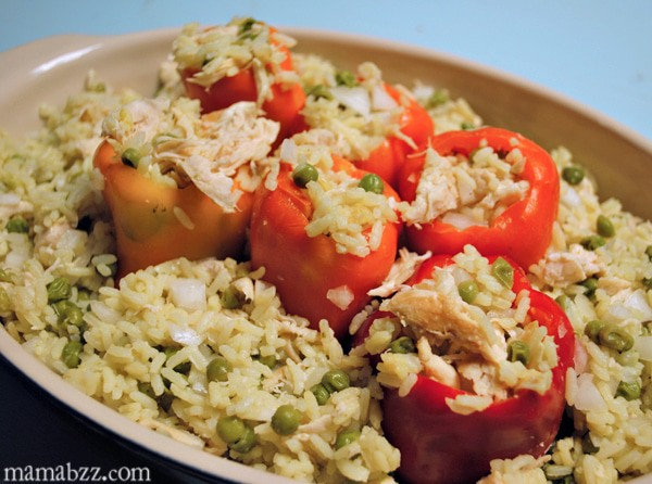 Stuff peppers with chicken and rice