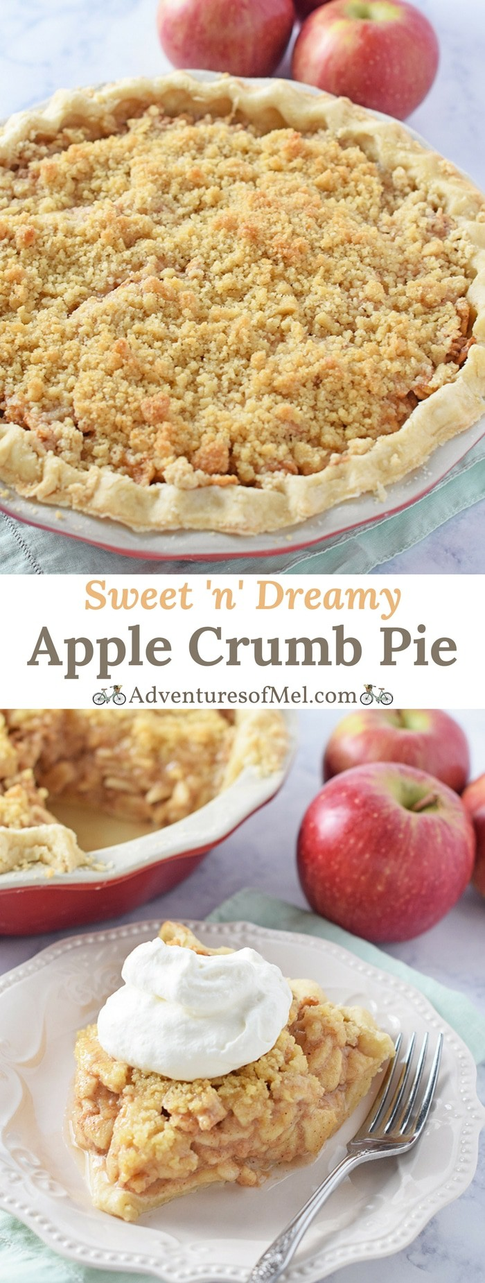 Apple Crumb Pie, made with fresh apples and a scrumptious brown sugar crumble topping, a delicious dessert. My family's favorite apple pie recipe!