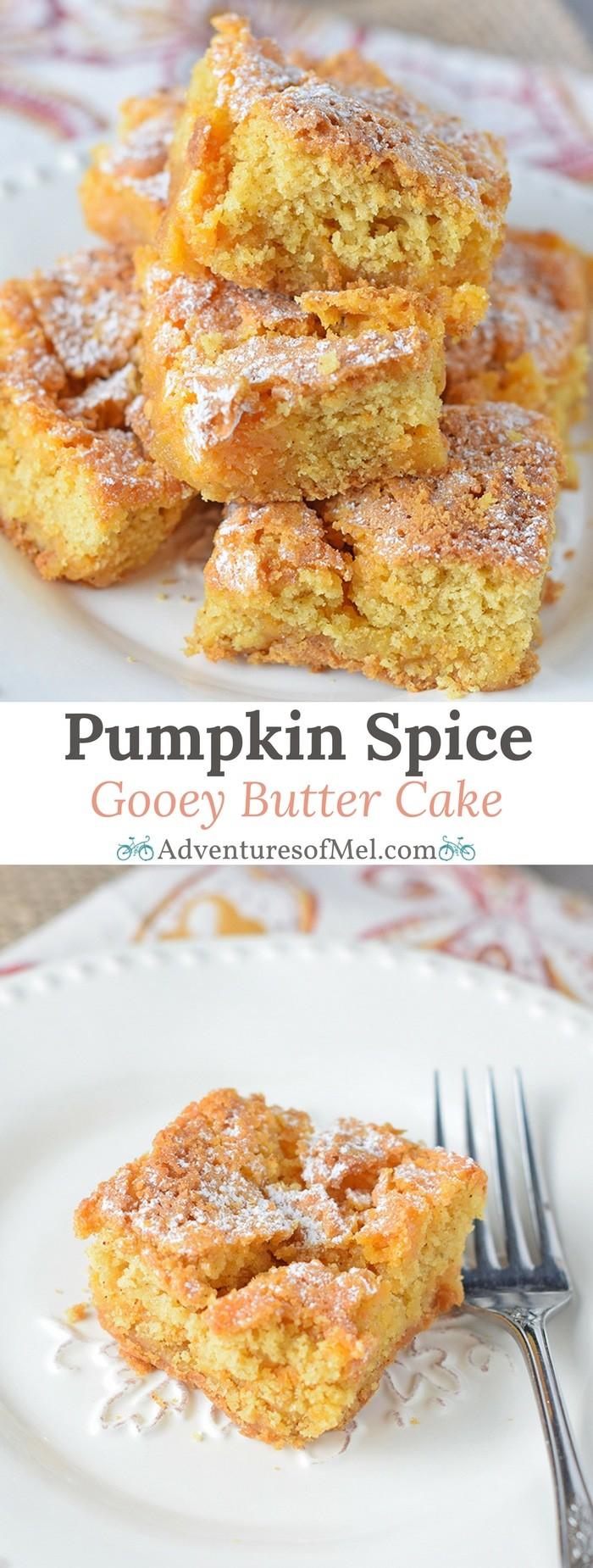 Pumpkin Spice Gooey Butter Cake, a scrumptious cake mix recipe. Fall dessert filled with ooey gooey, buttery, cream cheese goodness.