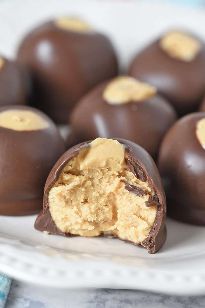 bite out of buckeye, yummy peanut butter buckeyes recipe