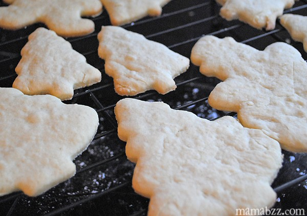 Holiday sugar cookies cooling on wire rack