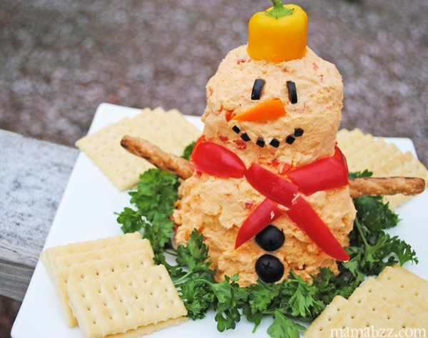 Homemade pimento cheese ball snowman recipe