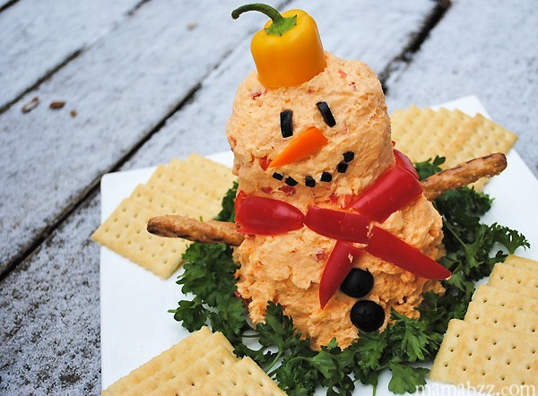 How to make a snowman pimento cheese ball