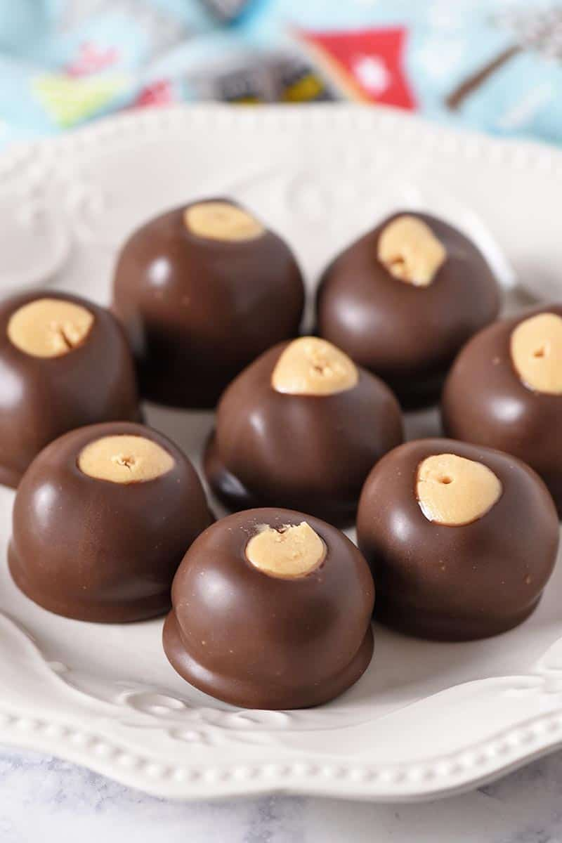 freshly dipped chocolate peanut butter balls, made with a family buckeye balls recipe, on a white ivory plate