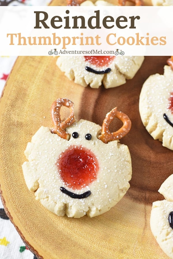 red-nosed reindeer thumbprint cookie recipe for Christmas
