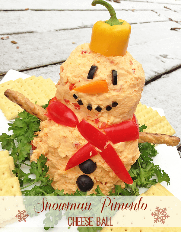 Snowman Pimento Cheese Ball Recipe from MamaBuzz {mamabzz.com}