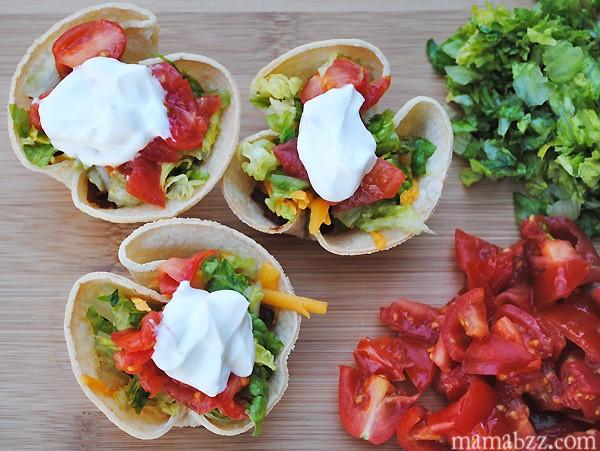taco bites with sour cream