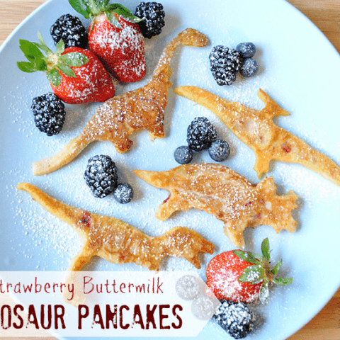 Strawberry Buttermilk Dinosaur Pancake Recipe from MamaBuzz