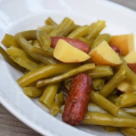 Fresh Green Beans, Potatoes, and Sausages