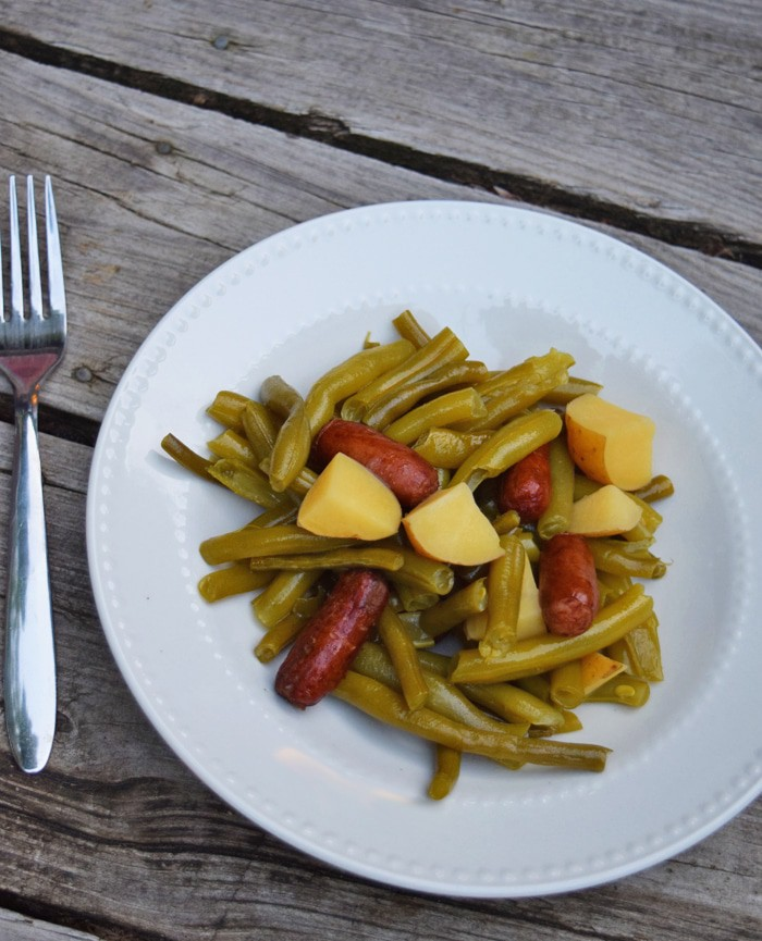 Garden fresh green beans and potatoes with sausages - recipe from MamaBuzz