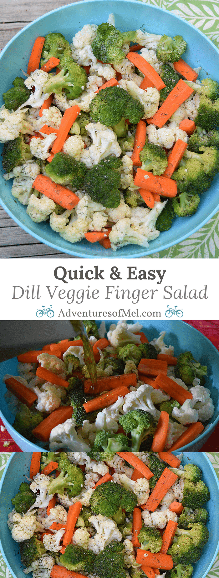 This quick and easy Dill Veggie Finger Salad is such a simple salad and absolutely perfect for summer BBQ's and get togethers. Or for a time like right now when I'm really craving fresh crunchy vegetables. How to make this delicious side dish recipe!