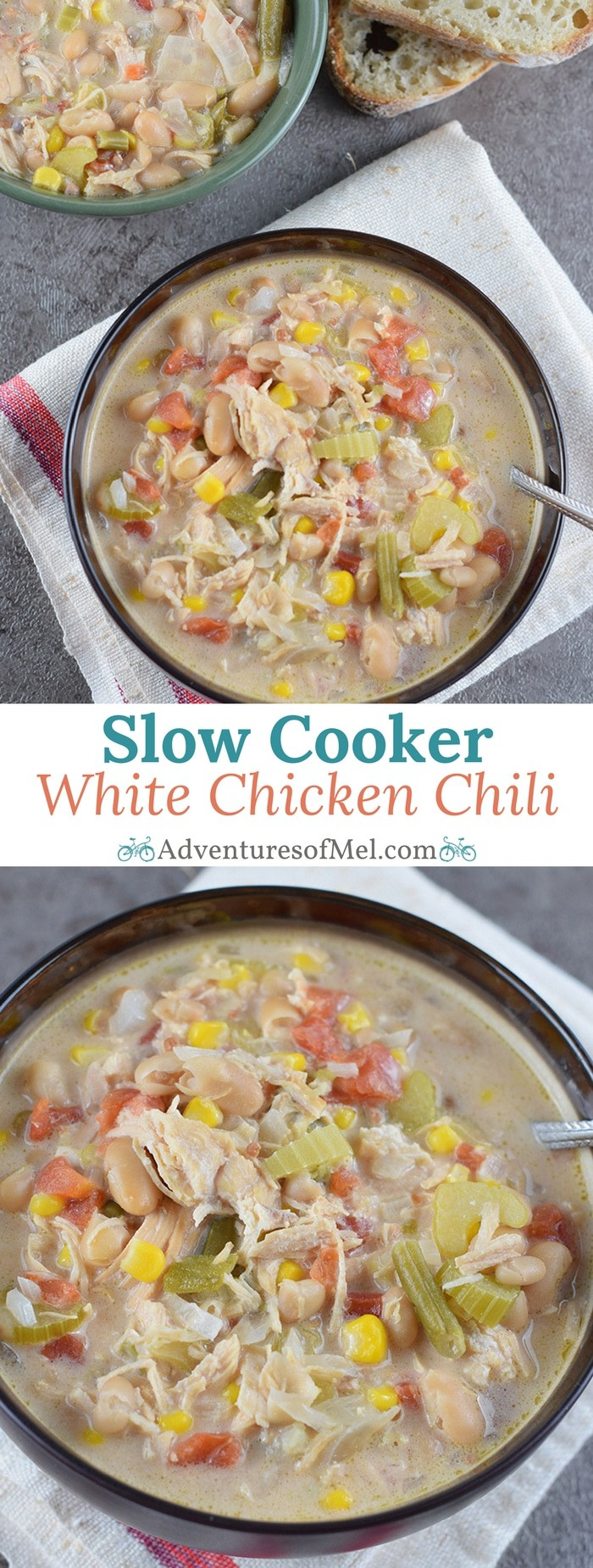 White Chicken Chili in the slow cooker (or Instant Pot) makes an easy family meal. Filled with vegetables, white beans, chicken, green chiles, and cheese.