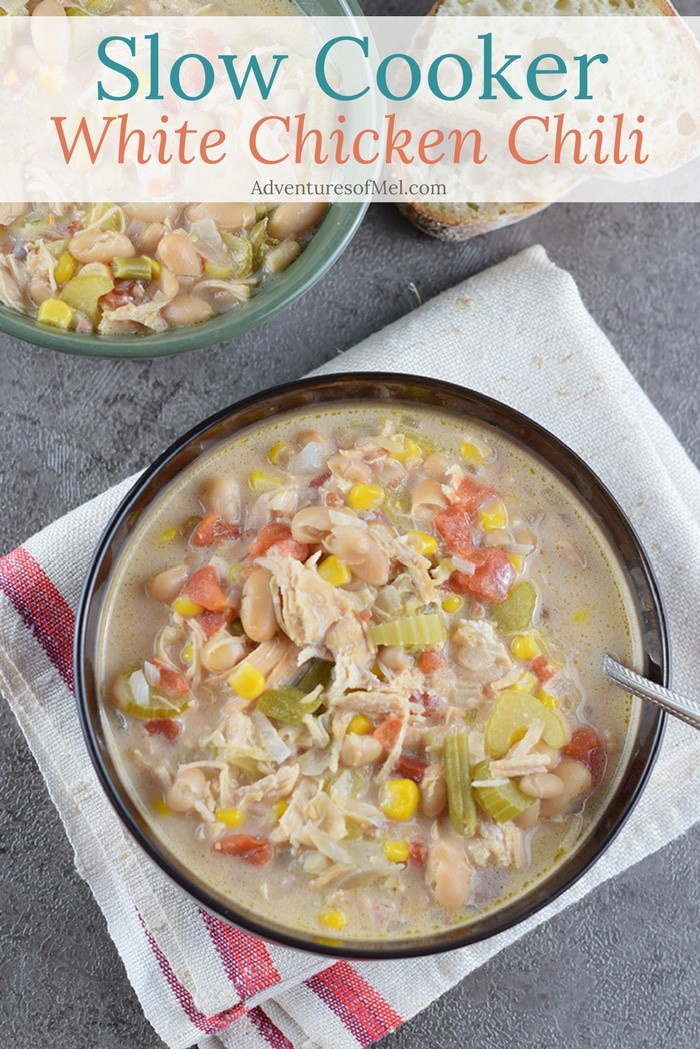 Slow Cooker (or Instant Pot) White Chicken Chili is an easy dinner idea the whole family will love.