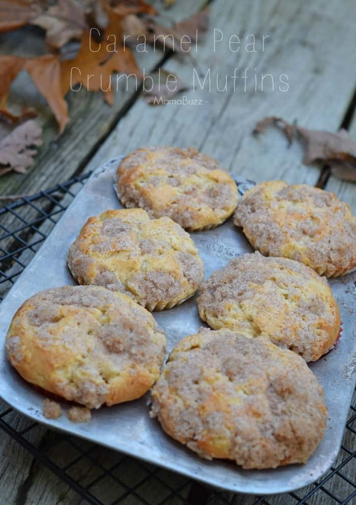 Caramel Pear Crumble Muffins Recipe {MamaBuzz - mamabzz.com}