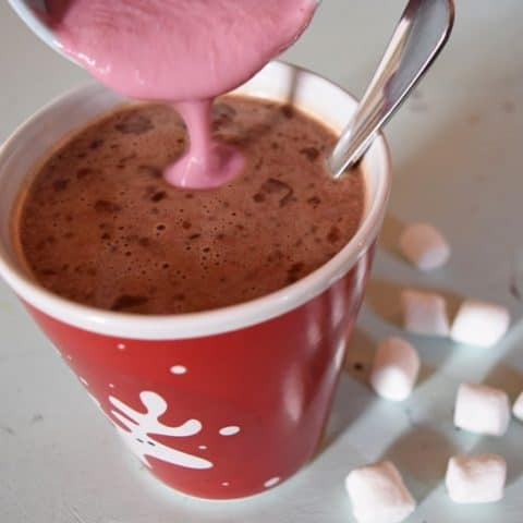 Add homemade raspberry creamer to hot chocolate {MamaBuzz - mamabzz.com} #EveryDayCare