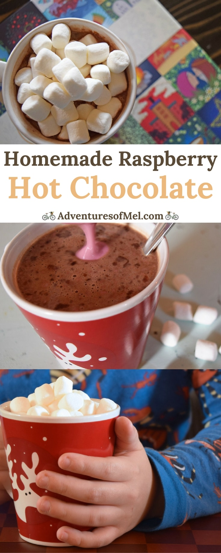 Cozy up with a warm cup of Raspberry Hot Chocolate, a sweet treat and a delicious homemade drink the whole family will love on a cold winter day.