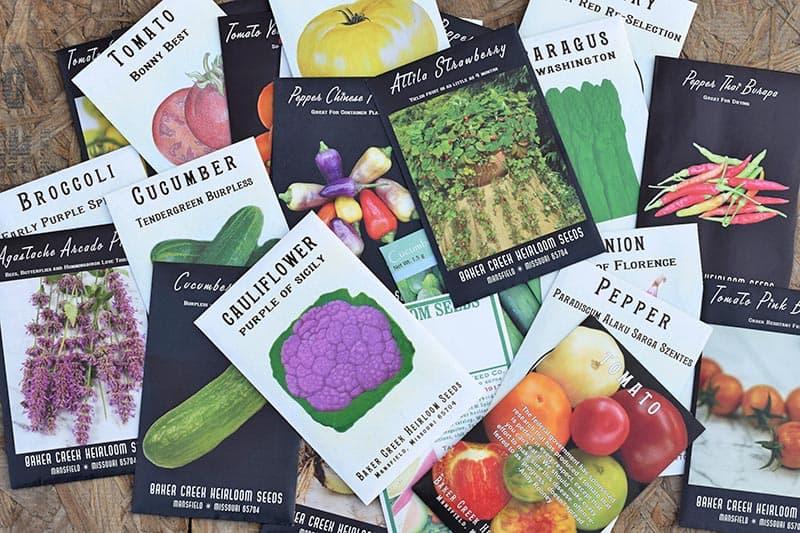 heirloom seed packets from Baker Creek Heirloom Seeds