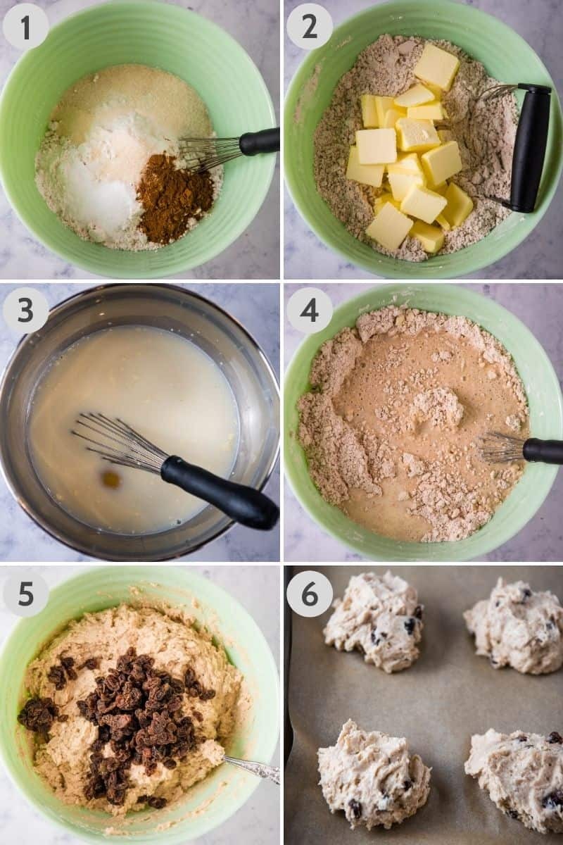 steps for how to make Irish soda scones, including whisking dry ingredients together in mint green mixing bowl, cutting cold sliced butter into dry ingredients with pastry blender, whisking egg and buttermilk together, mixing buttermilk into dry ingredients, adding raisins to scone batter, and dropping batter by spoonfuls onto baking sheet covered with parchment paper