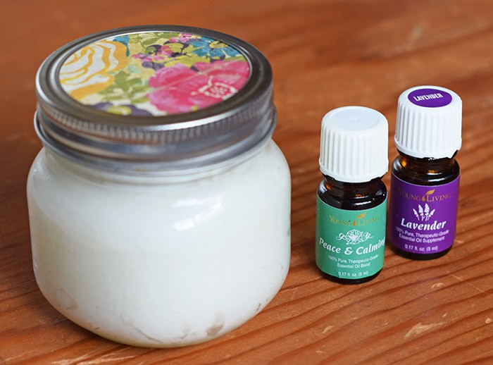 Bedtime is that magical time of the day when the kids have finally quieted down, the house is quiet, and maybe you have a few minutes to actually pamper yourself. Pamper yourself in seconds with a homemade, calming foot rub made from natural ingredients, including Peace and Calming and Lavender essential oils.
