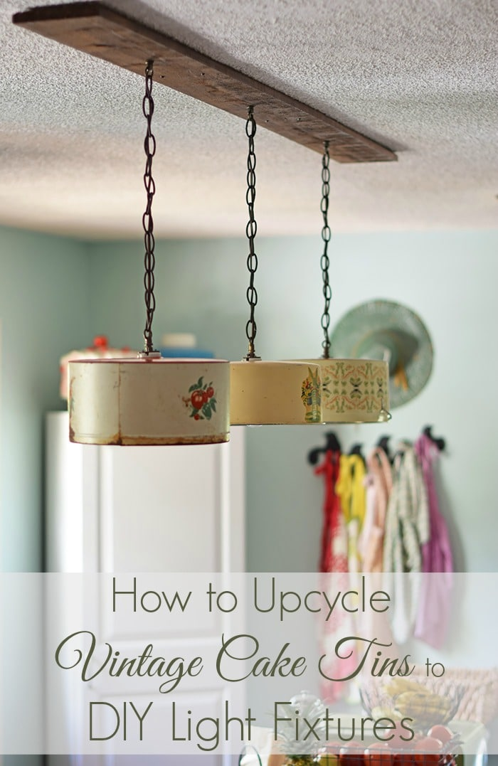 Create A Farmhouse Kitchen Look With DIY Light Fixtures Upcycled From  Vintage Cake Tins. How